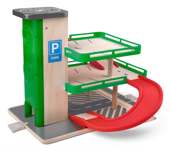 Garáž s výtahem a SIKU autíčky - dřevo/plast, Sleva 15%