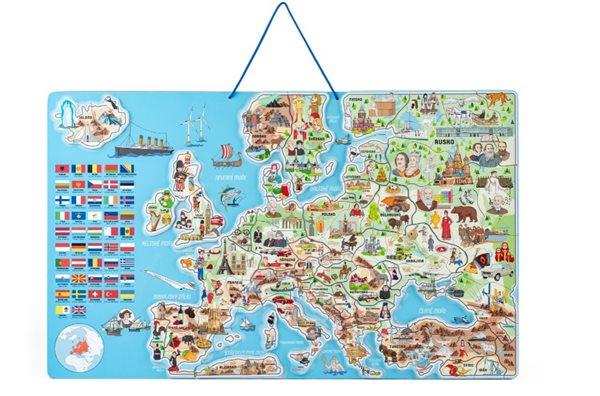 Magnetická mapa EVROPY, společenská hra 3 v 1, v ČJ