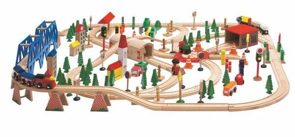 """Vláčkodráha """"Super Train"""" v dřevěné krabici, 170 dílů, Doprava zdarma"""