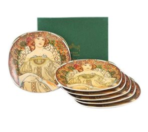 Sada dezertních talířů Alfons Mucha 6 ks