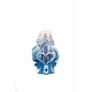 Svíčka Valentýnské srdce modrá 15 cm