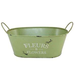 Oválný obal na květináč Vintage zelený