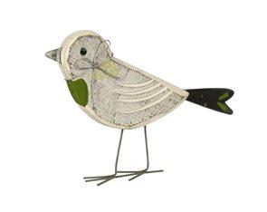 Dekorativní dřevěný ptáček bílý