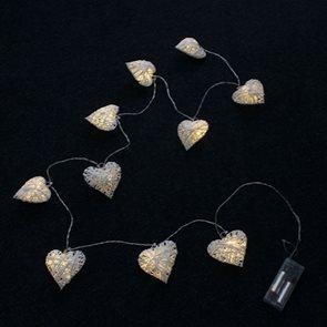 Světelný vánoční řetěz Srdce 10 LED
