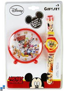 Dárkový set budík a hodinky Mickey Mouse