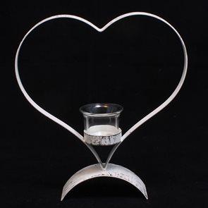 Kovový svícen bílý Srdce