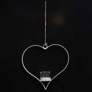 Kovový svícen bílý závěsný Srdce