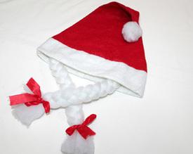 Vánoční čepice s copánky