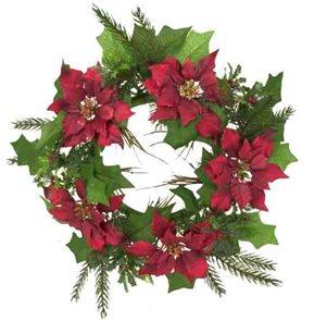 Umělý věnec Vánoční hvězda s cesmínou 28 cm