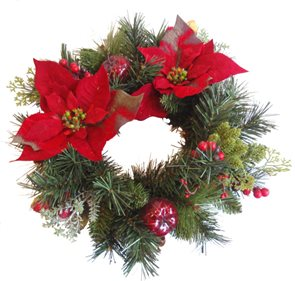 Umělý věnec Vánoční hvězda s jablíčky 40 cm