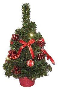 Umělý stromeček zdobený  s červenými doplňky 30 cm