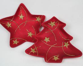 Dekorační keramický talíř Hvězda/ Stromek 15 cm