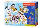 Puzzle sada 4v1- Domácí zvířata- sada 4,5,6 a 7 dílků