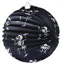 Lampion Halloween koule černý - kostlivci - 25 cm