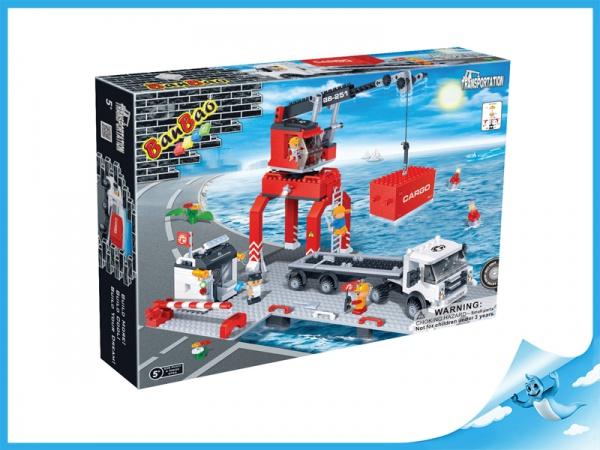 BanBao stavebnice Transportation nákladní přístav 538 ks + 4 figurky To Bees v krabičce