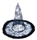Klobouk čarodějnický/ halloween s peřím - černý, pro dospělé