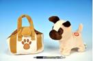 Pes v tašce plyšový, 16cm na baterie se zvukem mix