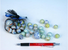 Kuličky skleněné perleťové 1,6cm 130g 20+1ks v síťce, mix