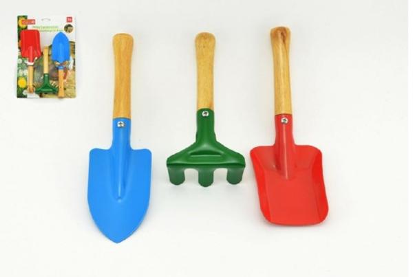 Zahradní nářadí dřevo/kov 15-22cm, 3ks