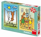 Puzzle Pejsek a Kočička 2x48 dílků, velikost obrázku 18x26cm
