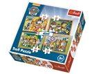 Puzzle Tlapková patrola - Vždy včas 4 v 1 (35,48,54,70 dílků)