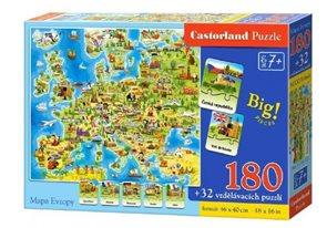 Puzzle Mapa Evropy 180 dílků + 32 puzzlí naučné 46 x 40cm