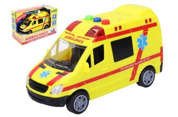 Auto ambulance záchranáři plast 14,5 cm na baterie se světlem a zvukem
