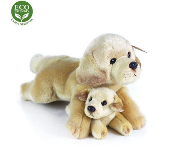 Plyšový labrador s mládětem ležící, 25 cm