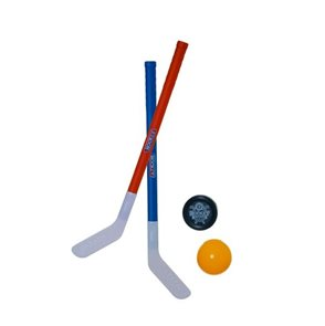 Hokejka pozemní 2 ks 72cm, florbalový míček a puk
