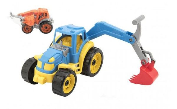Traktor se lžící 16x 24 cm, mix 2 barev