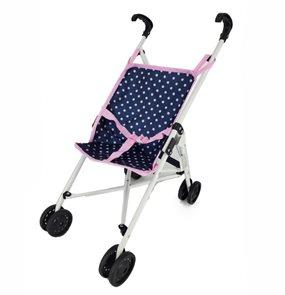 Golfový kočárek pro panenky modro/ růžový s puntíky