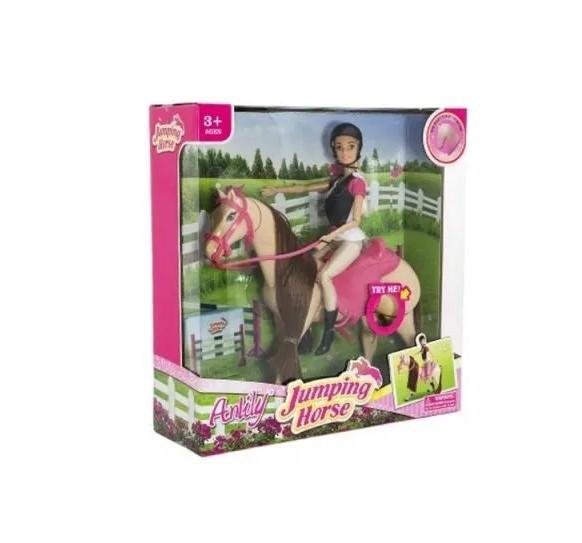 Kůň česací hýbající se + panenka žokejka Anlily plast , Sleva 16%