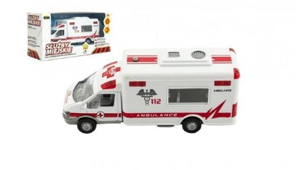 Auto ambulance městské služby plast 15 cm na baterie se zvukem se světlem