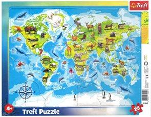Puzzle Mapa světa se zvířátky 25 dílků
