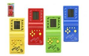 Digitální hra Brick Game Tetris hlavolam plast 18 cm na baterie, mix 4 barev