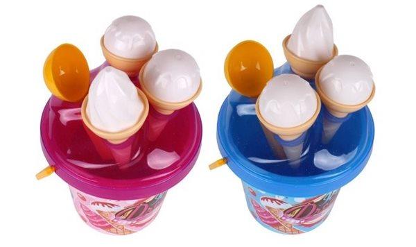 Sada na písek plast kbelík + formičky zmrzlina, mix 2 barev