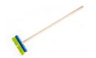 Koště modré s dřevěnou násadou 80 cm