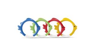 Zábavné kruhy/ ryby 4 ks pro potápění ve vodě, velikost 10 cm