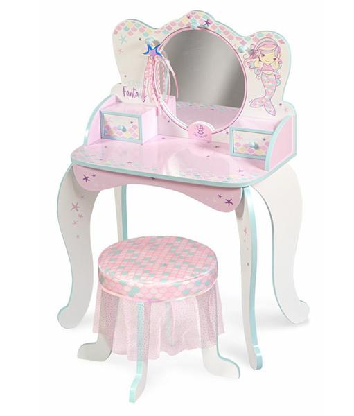 DeCuevas Dřevěný toaletní stolek se zrcadlem, dřevěnou židličkou a doplňky Ocean Fantasy 2021