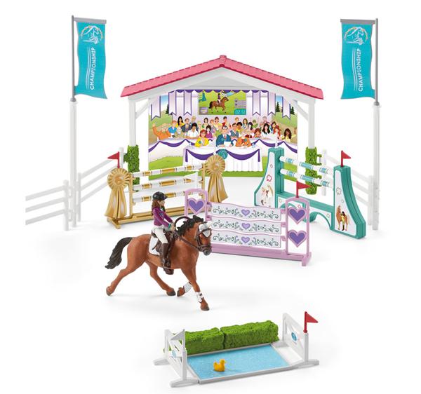 Schleich 42440 Turnajové závodiště s koníky a ošetřovatelkami s pohyblivými klouby