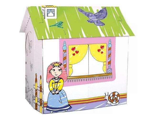Kartonový domek pro princeznu, na vymalování