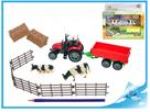 Sada farma - traktor 10cm s vlekem na baterie se světlem a zvukem a doplňky
