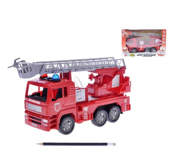 Požární vozidlo 25cm na setrvačník na baterie se světlem a zvukem stříkající vodu