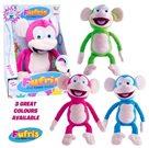 Fufris opička plyšová 34cm barevná smějící se a hýbající na baterie, mix 3 barev