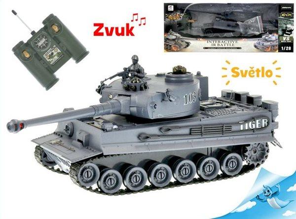 R/C tank, 26cm 1:28 40MHz šedý na baterie, 10 kanálů se světlem a zvukem