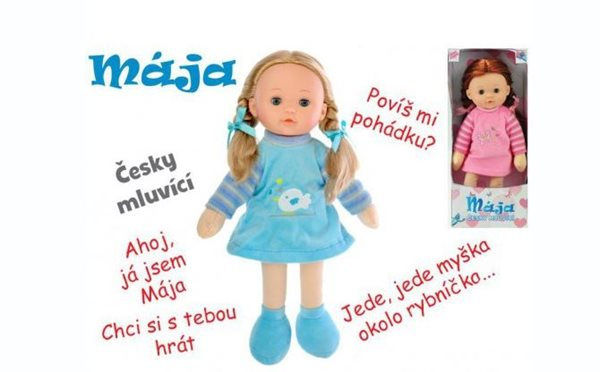 Panenka Mája mrkací 42cm, na baterie - česky mluvící, mix barev
