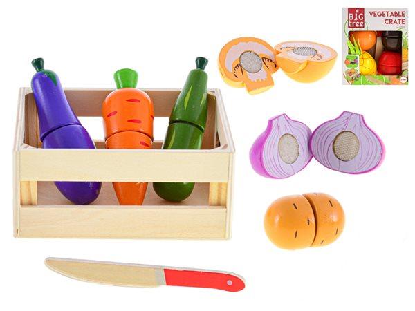 Košík dřevěný s krájecím ovocem nebo zeleninou, mix