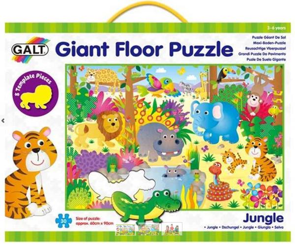 Velké podlahové puzzle – zvířátka v džungli (60×90cm)