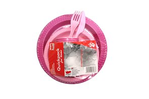 Set jednorázového nádobí COLOR 30 kusů - růžový