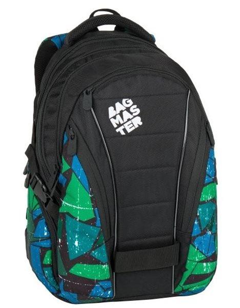 Studentský batoh Bagmaster - BAG 7 F BLACK/GREEN/BLUE, Doprava zdarma